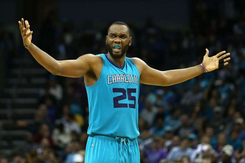 Al Jefferson of the Charlotte Hornets reacts after a play.