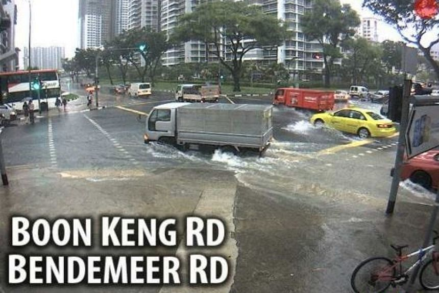 A capture from one of the PUB's CCTV cameras that shows a flash flood at the junction of Boon Keng and Bendemeer roads.