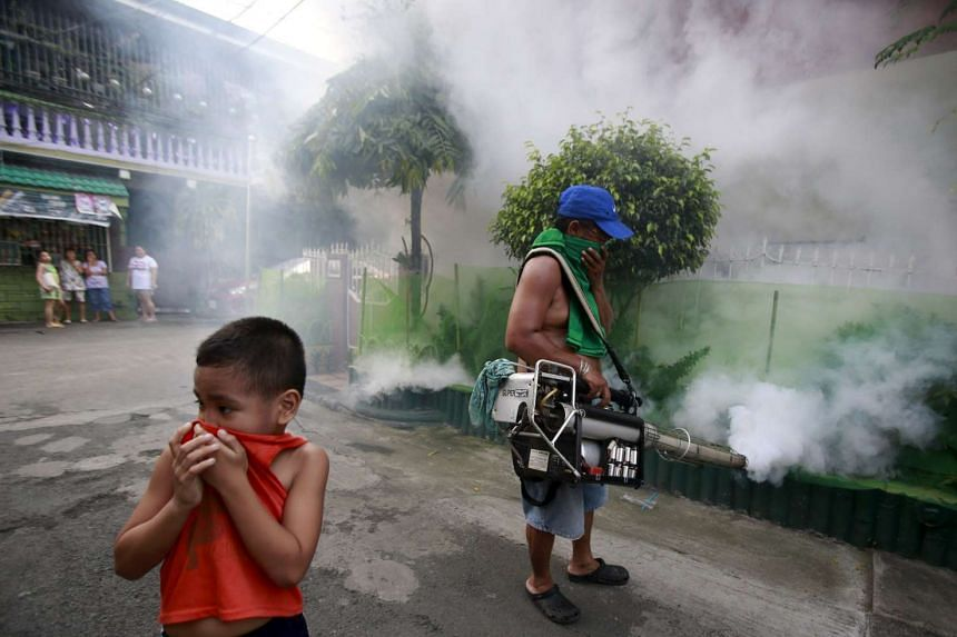 A boy covers his nose while a worker fumigates outside a residential area in Paranaque city, metro Manila.