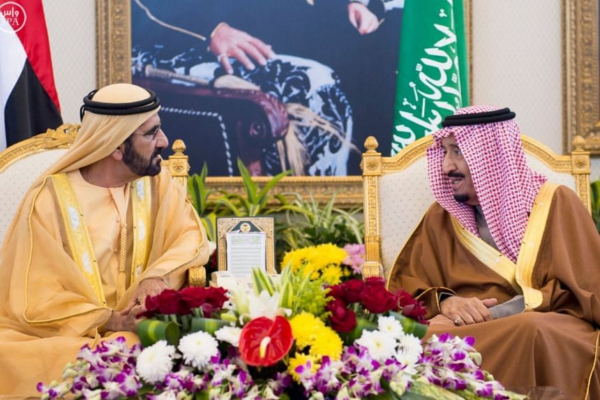 Saudi King Salman (right) meets Sheikh Mohammed bin Rashid al-Maktoum, prime minister and vice president of the United Arab Emirates and ruler of Dubai, before the Gulf Cooperation Council (GCC) summit in Riyadh on  Wednesday.