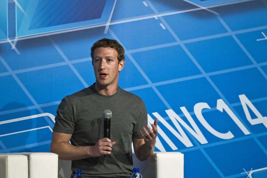 Facebook founder Mark Zuckerberg at a keynote session on the opening day of the Mobile World Congress in Barcelona, Spain, Feb 24, 2014.