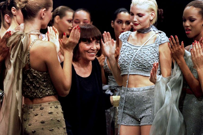 Italian designer Mariuccia Mandelli at a Krizia catwalk show in 1994. The fashion house's founder died on Sunday aged 90.