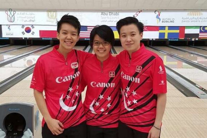 From left: Shayna Ng, Cherie Tan and New Hui Fen finished second in the trios event at the World Bowling Women's Championships. Tan was second in the singles.