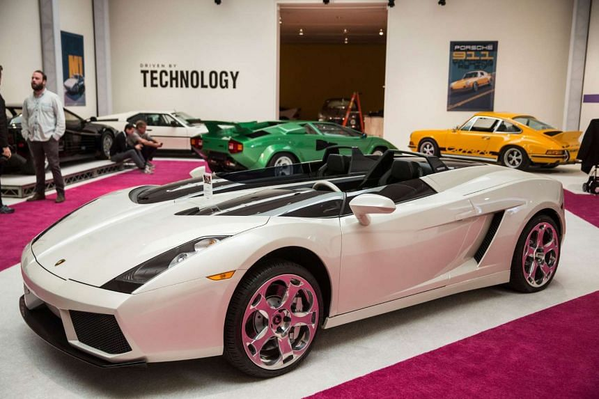 "A 2006 Lamborghini Concept S on display at Sotheby's during a press preview before the ""Driven by Disruption"" auction on Dec 4 in New York."