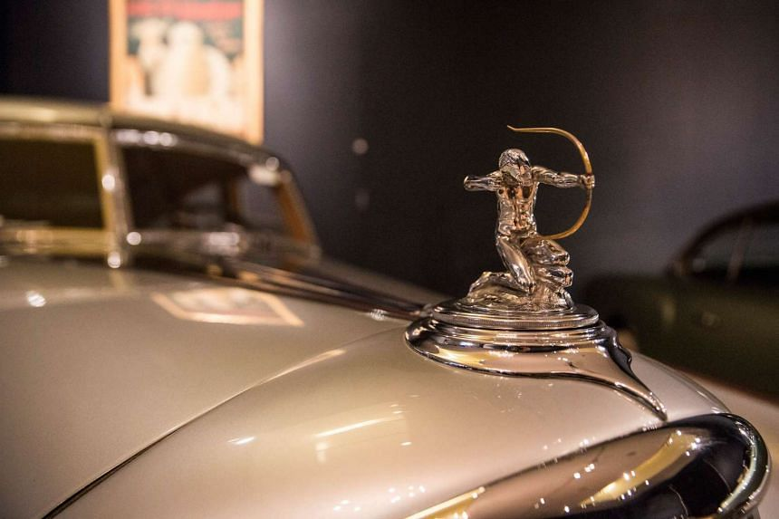 """A 1933 Pierce-Arrow Silver Arrow on display at Sotheby's during a press preview before the """"Driven by Disruption"""" auction on Dec 4 in New York."""