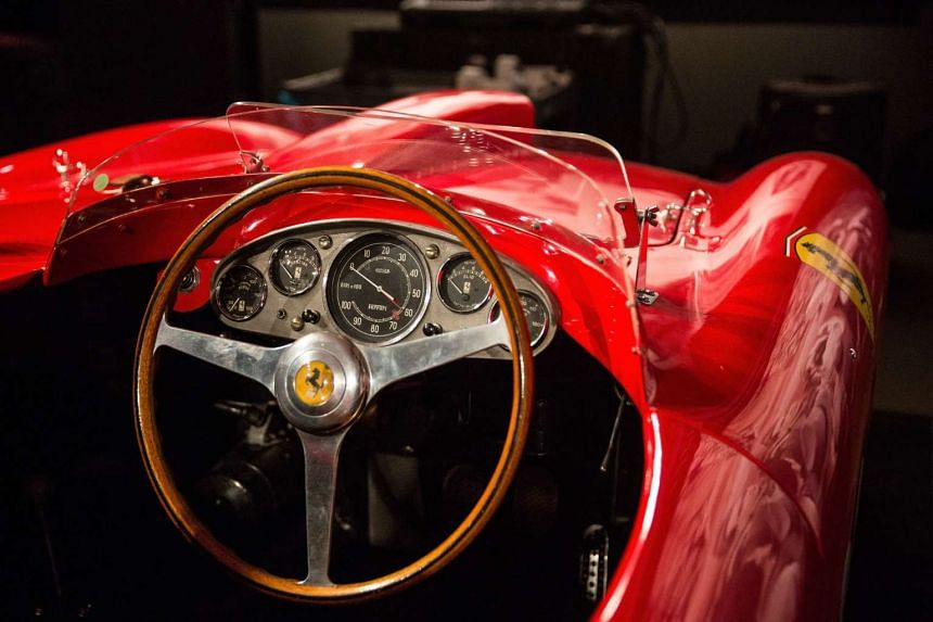 "A 1956 Ferrari 290 MM by Scaglietti on display at Sotheby's during a press preview before the ""Driven by Disruption"" auction on Dec 4 in New York."