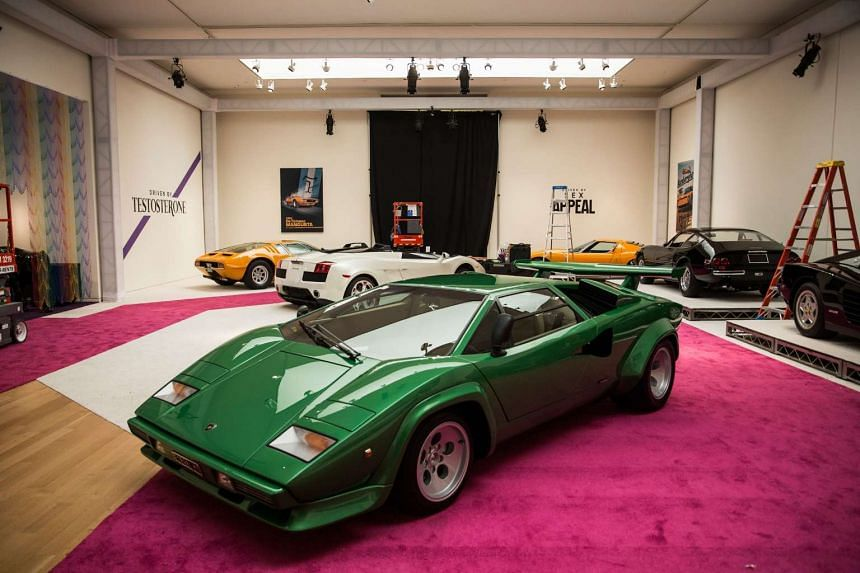 "A 1981 Lamborghini Countach LP400 S Series III on display at Sotheby's during a press preview before the ""Driven by Disruption"" auction on Dec 4 in New York."