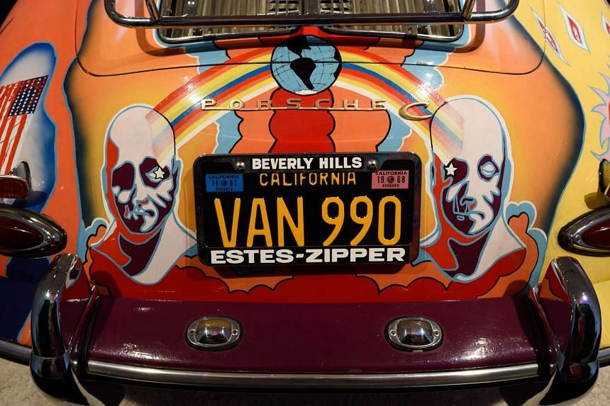 Janis Joplin's 1964 Porsche 356 SC Cabriolet is exhibited at Sotheby's on Dec 9 in New York.