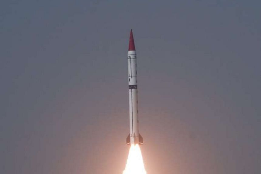 Shaheen-III surface-to-surface missile during a test-fire at an undisclosed location in Pakistan.