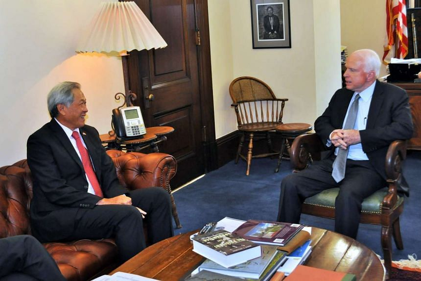Minister for Defence Ng Eng Hen (left) meets with US Senator John McCain, chairman of the United States Senate Armed Services Committee, in Washington.