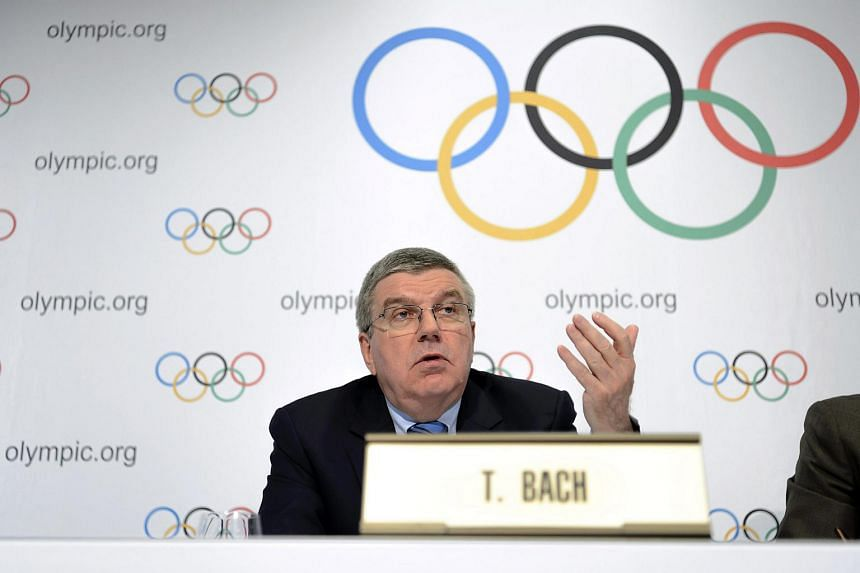 IOC president Thomas Bach speaking at a press conference in Lausanne, Switzerland, on Dec 10.