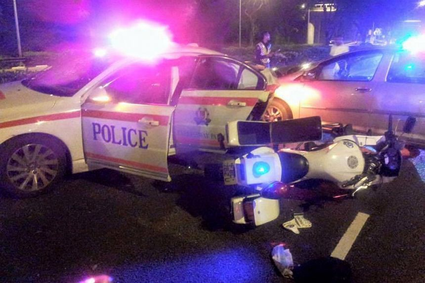 A car collided into the rear of a Traffic Police car and an enforcement motorcycle on Thursday on the TPE.