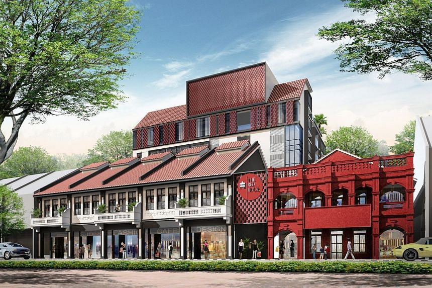 An artist's impression of the Red House Project in Katong which will house 42 residential units and five retail shops. There will be a new halal bakery and heritage gallery, showcasing artefacts from the old bakery.