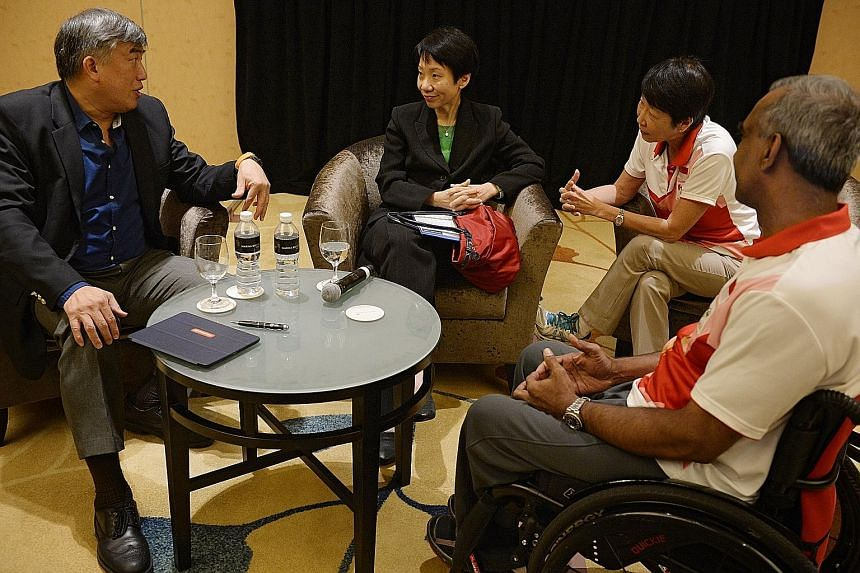 From left: Singapore APG organising committee exco chairman Lim Teck Yin, Minister for Culture, Community and Youth Grace Fu, SDSC president Dr Teo-Koh Sock Miang and Team Singapore's chef de mission Raja Singh during a post-Games review at Marina Ba