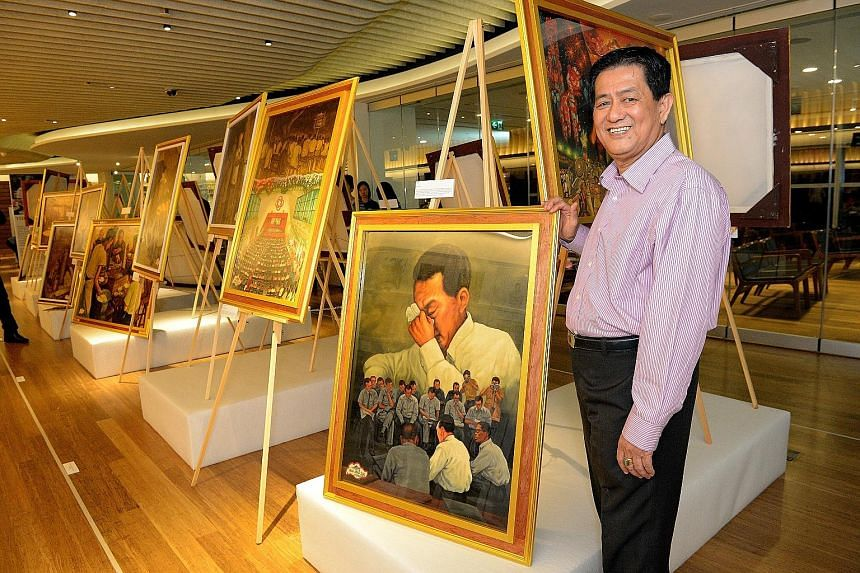 Movie poster painter Ang Hao Sai, 64, with his work, Tears, featuring founding Prime Minister Lee Kuan Yew. It was shown with his other paintings, which depict scenes of Singapore life, at The Art of Singapore, a free exhibition launched yesterday at