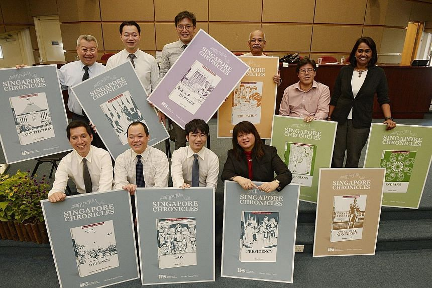 The people behind the first 10 titles of the 50-volume Singapore Chronicles series are (back row, from left) Dr Kevin Tan for Constitution; Dr Daniel Chua, co-author of Diplomacy; Mr Kennie Ting for Heritage; Prof S. Gopinathan for Education; Dr Alex
