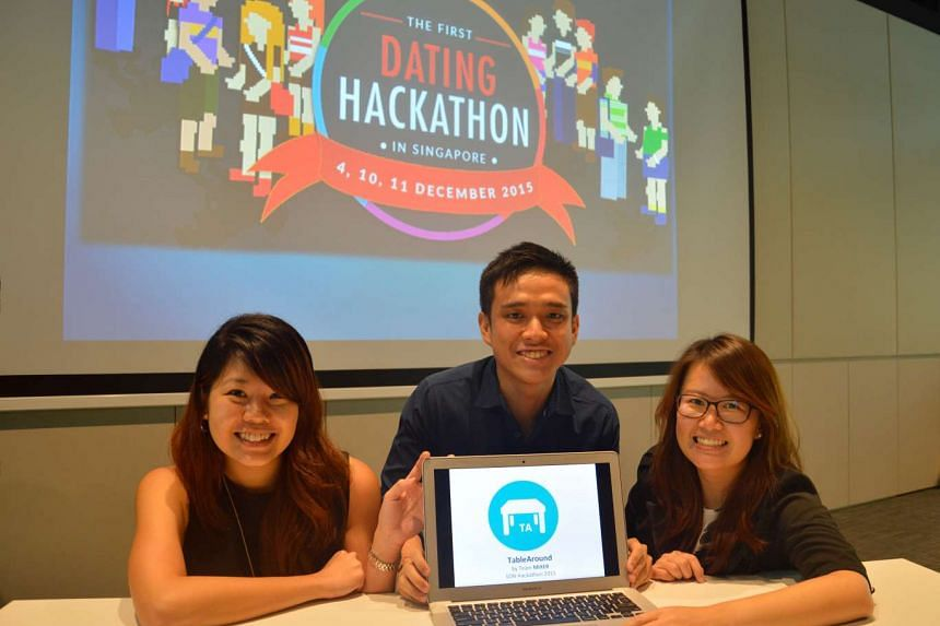 The winners of the dating hackathon (L-R): Ms Jasmine Tan, 24, Kevin Goh, 25 and Amilyn Quah, 27