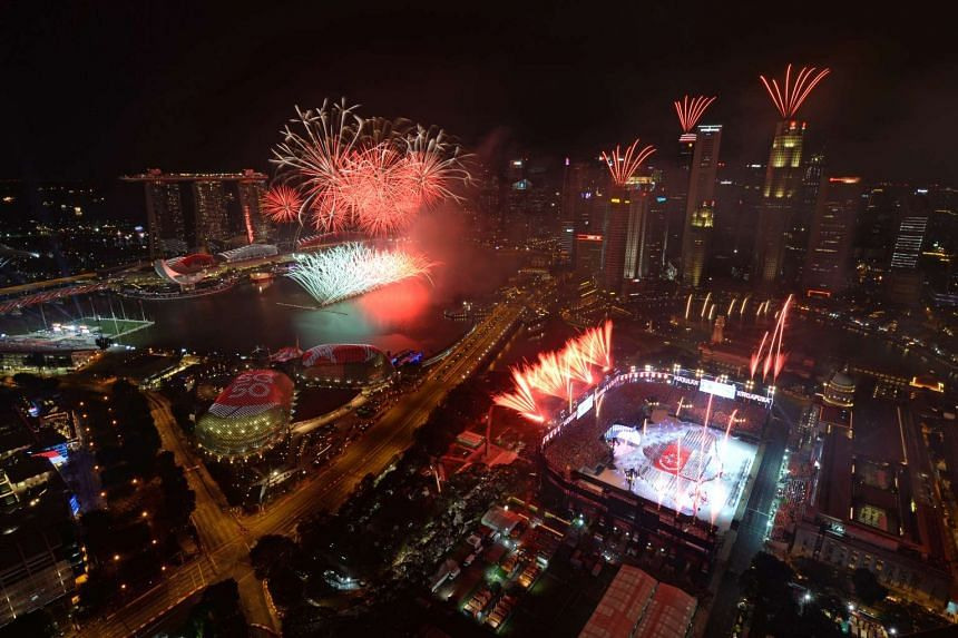 Fireworks going off at the Padang during this year's National Day Parade on Aug 9.