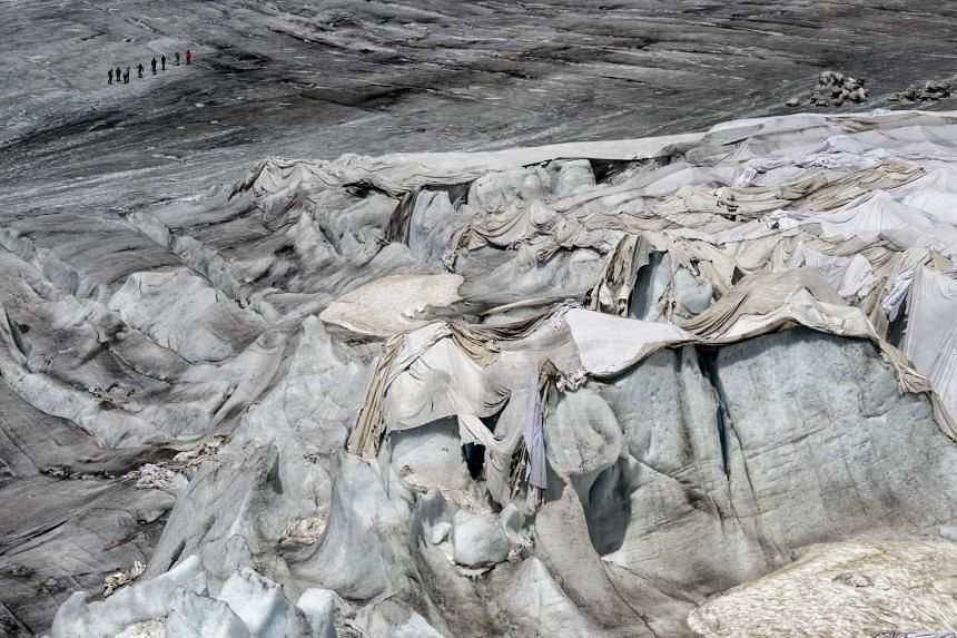 The Rhone Glacier, covered with blankets to protect it from the sun, on July 14, 2015.
