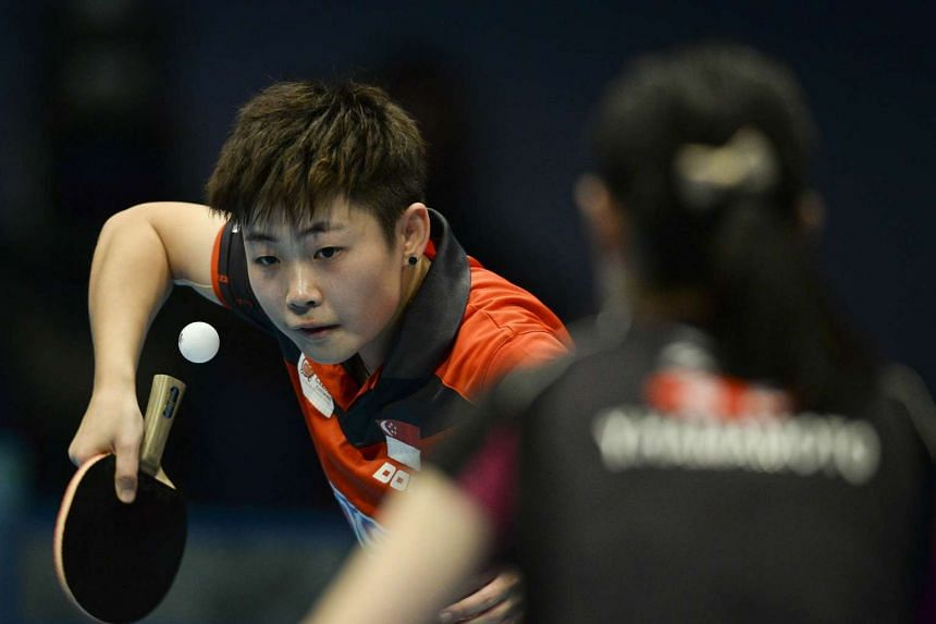 Singapore's Ye Lin serving against Japan's Yui Hamamoto during their U21 women's singles final match on Dec 11.