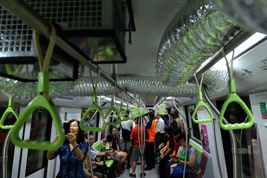 Flexible ventilation ducts are installed on MRT trains during emergency and shelter occupation.