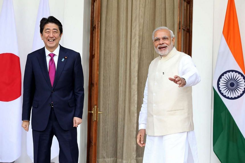 Indian Prime Minsiter Narendra Modi and his Japanese counterpart Shinzo Abe prior to their meeting.