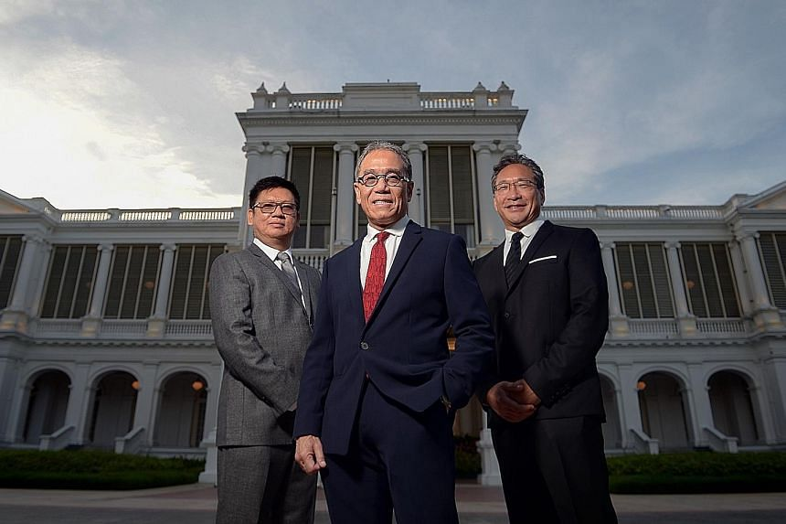 (From left) Architect Siew Man Kok, principal designer Franklin Po and sculptor and landscape artist Colin K. Okashimo won top honours for their work at the President's Design Awards yesterday.