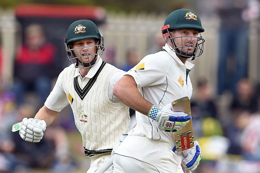 Adam Voges (left) and Shaun Marsh put Australia in control of the first Test against the West Indies in Hobart. Voges hit an unbeaten 269 and Marsh a career-high 182 as Australia declared at 583-4 yesterday.