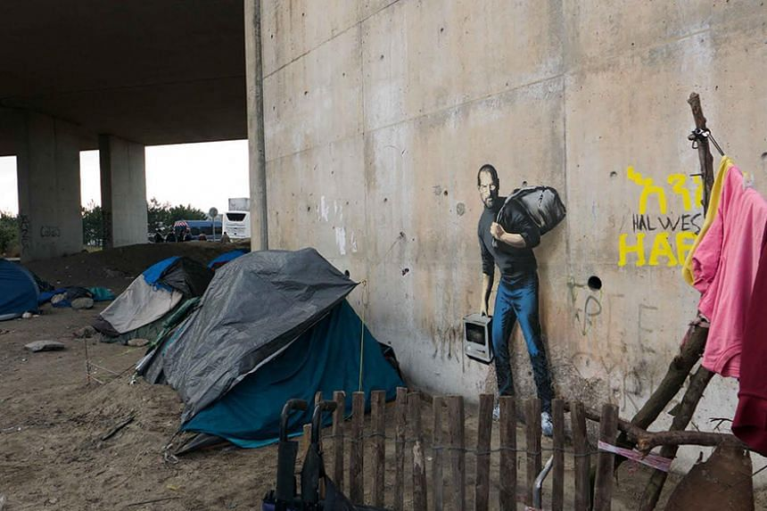 Banksy's portrait at The Jungle in Calais.