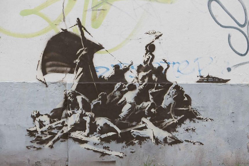 Banksy's take on Raft of the Medusa in Calais town centre.