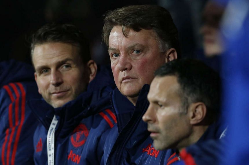 Manchester United manager Louis van Gaal (centre) during the Premier League football match between Bournemouth and Manchester United on Dec 12, 2015.