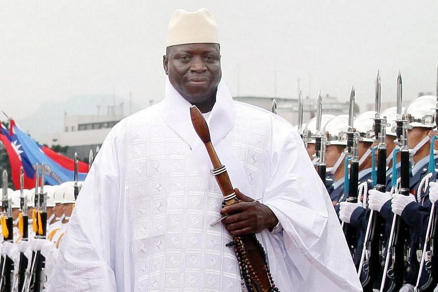 A handout photograph shows Gambia's President Yahya Jammeh during a welcoming ceremony upon his arrival in Taiwan.