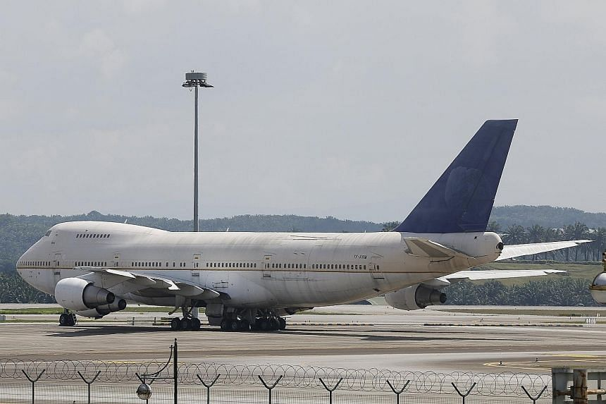 One of the three unclaimed Boeing 747 aircraft sitting idle on the tarmac at Kuala Lumpur International Airport last Thursday.