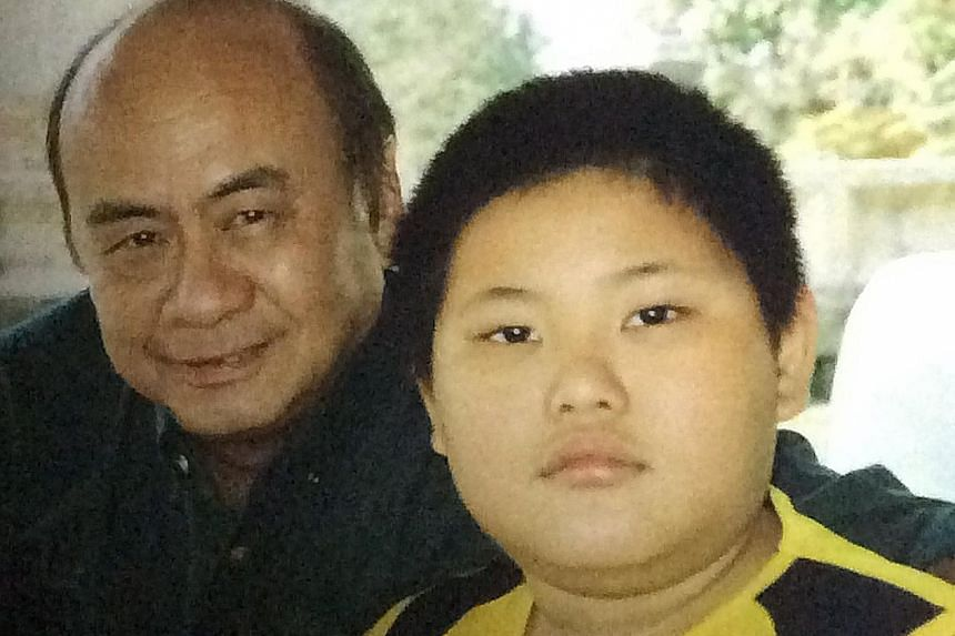 Above: Tan Xiang Tian, with a family friend, in his younger days when he was pudgy and mocked by others. Left: The fighting-fit Tan who won gold at World Wushu Championship last month.