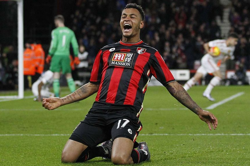 Bournemouth's Norwegian striker Joshua King celebrates scoring his team's second goal.
