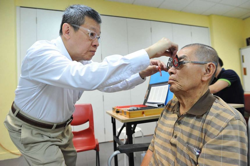About 50 senior citizens got free eye tests and were given a pair of customised spectacles at Bedok Sunflower RC on Dec 13, 2015.