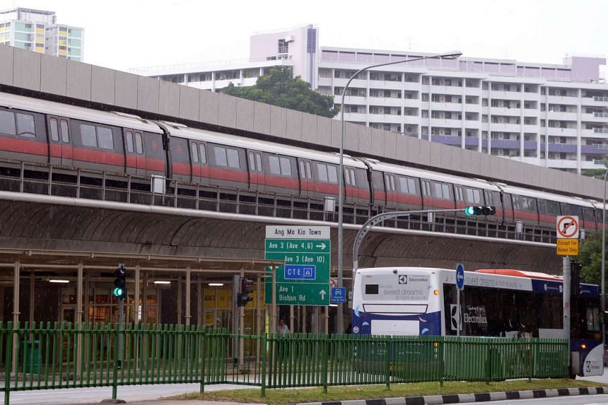 A train at Ang Mo Kio MRT station on the North South line. Commuters can catch the Christmas-themed train on the North-South and East-West lines from today (Dec 14).