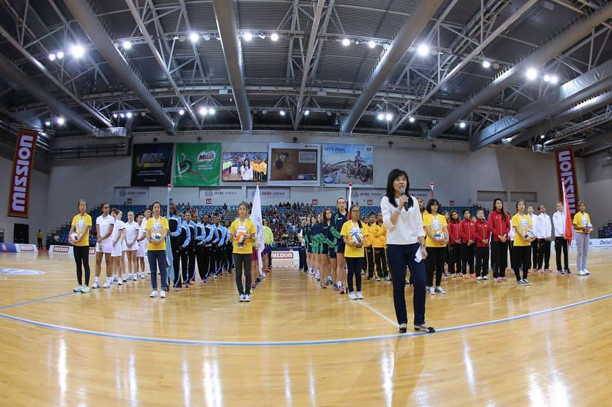 President of Netball Singapore Jessica Tan addresses the 1,300-strong crowd at the 10th Mission Foods Nations Cup on Dec 13, 2015.