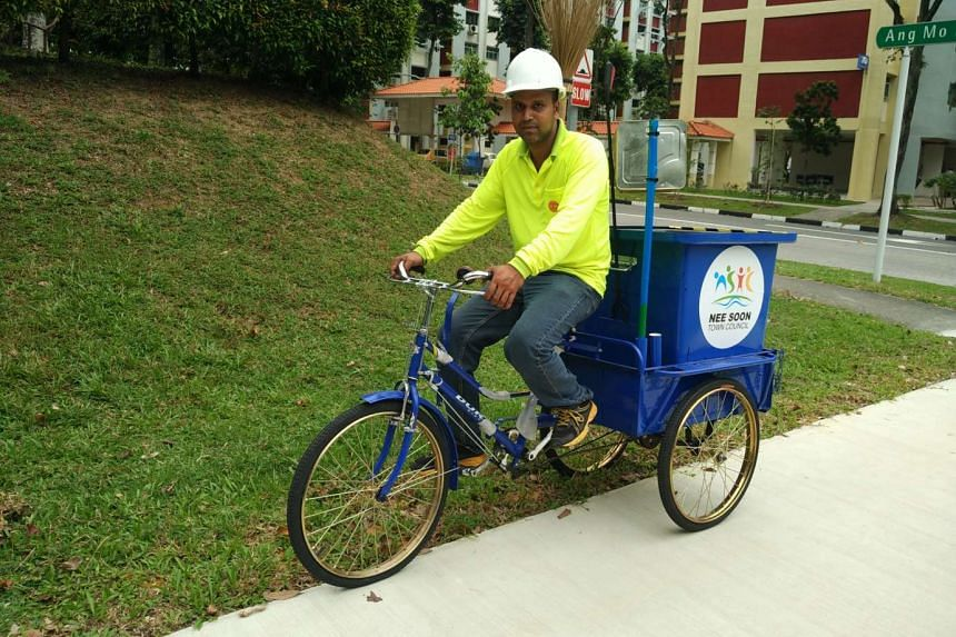 The Nee Soon Town Council has introduced tricycles with attached bins for its cleaners.