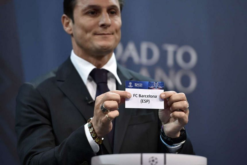 FC Barcelona's name is shown during the draw for the UEFA Champions league round of sixteen on Dec 14, 2015.