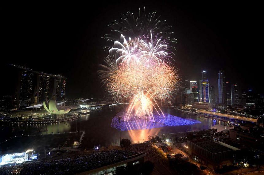 Fireworks lighting up the sky during a countdown party for 2014.