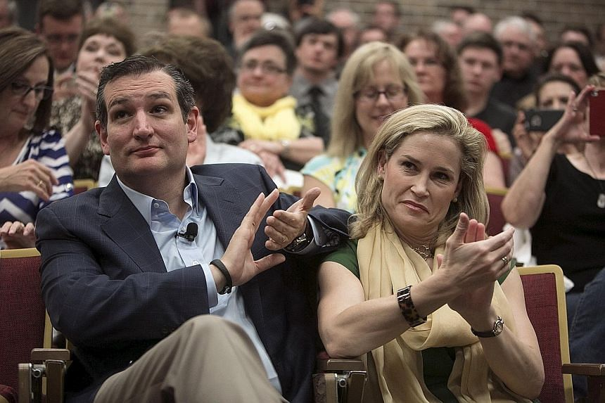 Mr Ted Cruz and his wife Heidi at an event at Morningside College in Sioux City, Iowa, in April. Mr Cruz's leap ahead in the poll suggests that his campaign has gathered momentum and that Iowa voters have begun to decide which candidate they want to