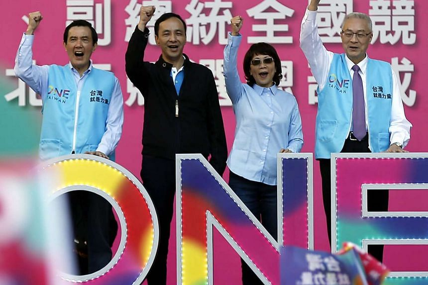 (From left to right) Taiwan President Ma Ying-jeou, Kuomintang presidential candidate Eric Chu and running mate vice presidential candidate Jennifer Wang and Taiwan Vice President Wu Den-yih, launching a campaign in Taipei on Dec 05, 2015. Taiwan's p