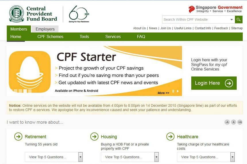 A screenshot of the CPF website.