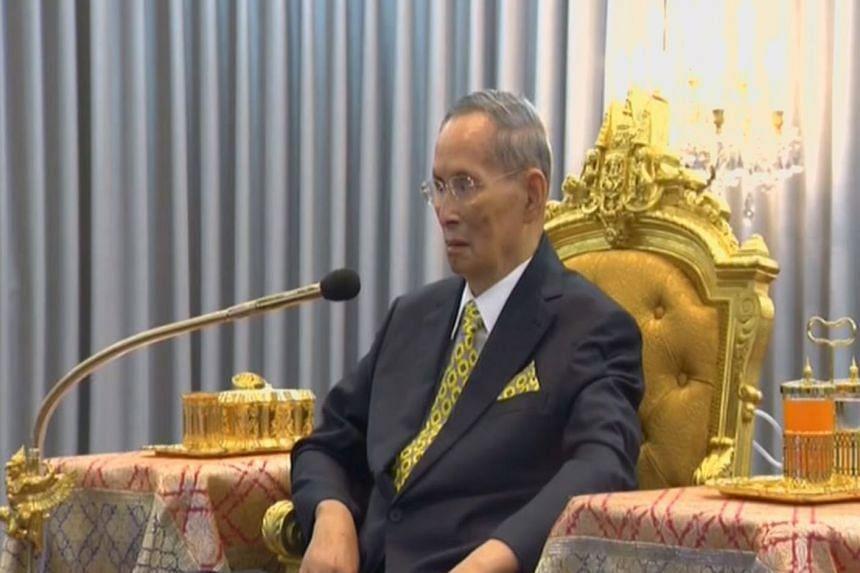Thailand's King Bhumibol Adulyadej attending a ceremony in Bangkok on Monday.