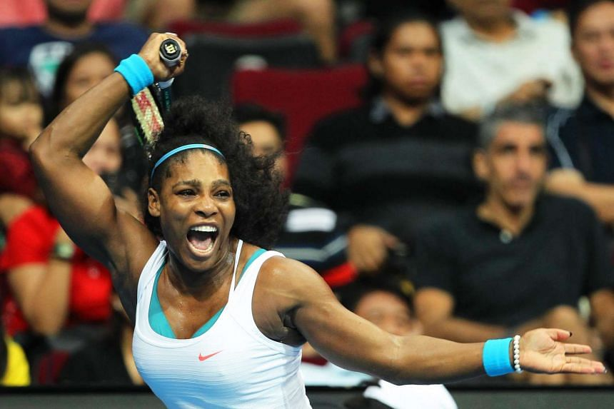 American tennis champ Serena Williams plays for the International Premier Tennis League at in the Philippines on Dec 8, 2015.
