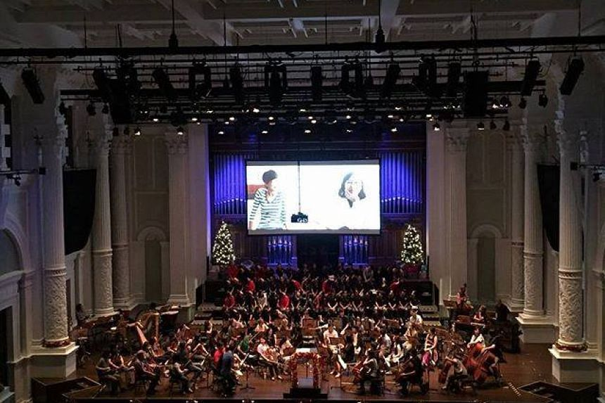Singapore Symphony Orchestra rehearsing for a children's Christmas concert at the Victoria Concert Hall on Dec 10, 2015.