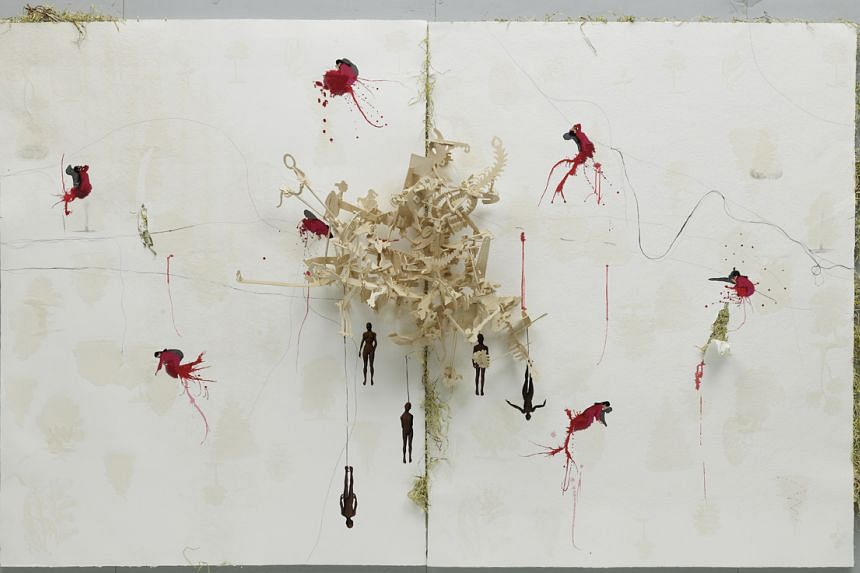 Hema Upadhyay's artwork, Universe Revolves On (XII) (2008), at the Singapore Tyler Print Institute.