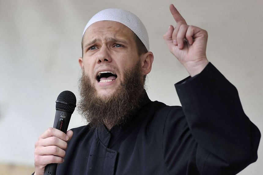 Islamic preacher Sven Lau speaking at a Salafist event in Cologne, Germany.