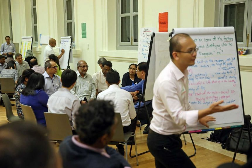 Partipants in small-group discussion during the sixth dialogue session to seek views and ideas on a Founders' Memorial, on Dec 15, 2015 at the National Museum of Singapore.